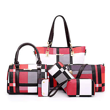 cheap Bag Sets-Women's Bags PU Leather Bag Set 6 Pieces Purse Set Zipper Solid Color Lattice for Daily / Outdoor Black / Blue / Red / Green / Bag Sets