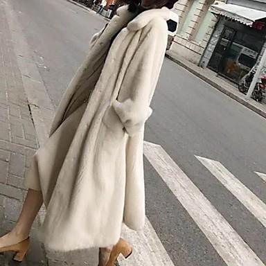 povoljno Oprema za zabavu-Žene Dnevno Dug Faux Fur Coat, Jednobojni Odbačenost Dugih rukava Umjetno krzno Crn / Obala