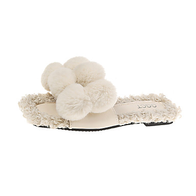voordelige Damespantoffels & slippers-Dames Slippers & Flip-Flops Platte hak Vierkante Teen Imitatiebont Herfst winter Geel / Regenboog / Beige