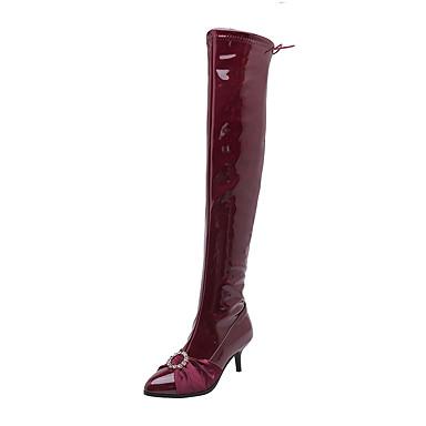 voordelige Dameslaarzen-Dames Laarzen Kleine hak Gepuntte Teen Lakleer Over de knie laarzen Klassiek Herfst winter Zwart / Wijn / Feesten & Uitgaan