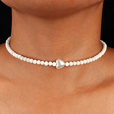 povoljno Modne ogrlice-Žene Bijela Choker oglice Ogrlica Perlice Srce tkati Korejski slatko Moda Slatka Style Imitacija bisera Obala 41 cm Ogrlice Jewelry 1pc Za Dnevno