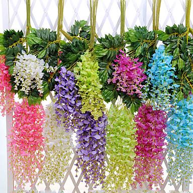Flor artificial 12 pc ramo moderno contemporâneo eterna flor flor de simulação de parede wisteria flor direto da fábrica de feijão flor pendurado decoração do casamento arco decoração de casamento