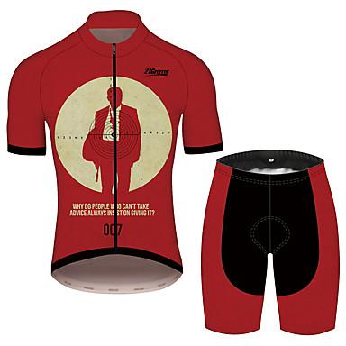 21Grams James Bond Homens Manga Curta Camisa com Shorts para Ciclismo - Preto / Vermelho Moto Conjuntos Respirável Pavio Humido Secagem Rápida Esportes 100% Poliéster Ciclismo de Montanha Roupa