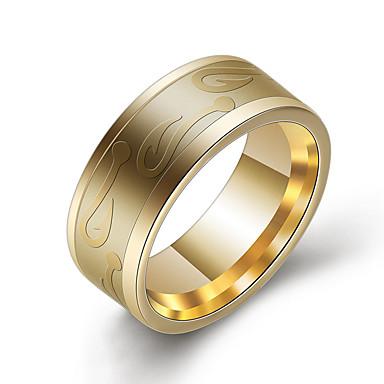 levne Pánské šperky-Pánské Prsten 1ks Zlatá Černá Stříbrná Titanová ocel Kulatý Casual / Sportovní Denní Šperky Retro styl Kytky Půvab