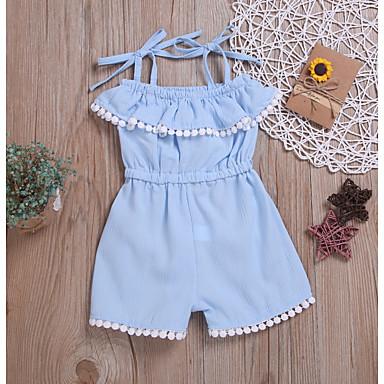 billiga Flickbyxor och leggings-Småbarn Flickor Grundläggande Enfärgad Overall och jumpsuit Ljusblå