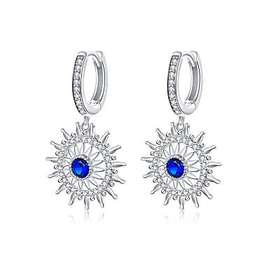 levne Dámské šperky-chryzantéma náušnice pro ženy modrý kámen zářivý květ viset náušnice svatební zásnubní luxusní šperky