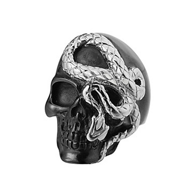 cheap Rings-Men's Band Ring Ring 1pc Black Titanium Steel Circular Vintage Basic Fashion Daily Jewelry Snake Skull Cool