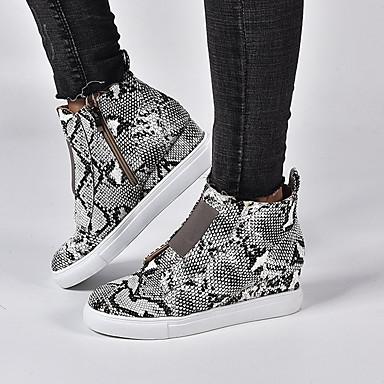 cheap Women's Sneakers-Women's Sneakers Wedge Heel Round Toe PU Summer Black / Brown / Wine