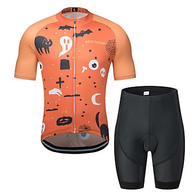 MUBODO Homens Manga Curta Camisa com Shorts para Ciclismo - Preto / Vermelho Moto Conjuntos Respirável Pavio Humido Secagem Rápida Esportes Tule Ciclismo de Montanha Ciclismo de Estrada Roupa