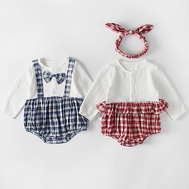 povoljno Odjeća za bebe-3 komada Dijete Djevojčice Aktivan / Boho Karirani uzorak Vezeno Dugih rukava bodysuit Plava