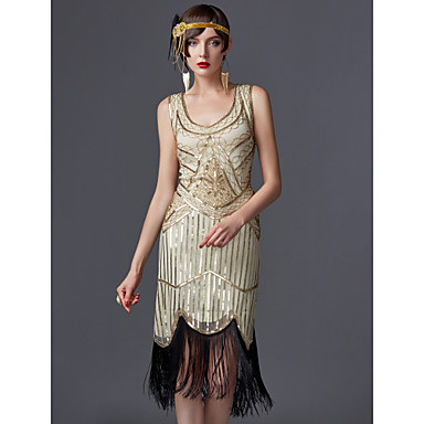 The Great Gatsby Τσάρλεστον 1920s Χρυσή δεκαετία του '20 Χορός μεταμφιεσμένων Κοκτέιλ Φόρεμα Γυναικεία Πούλιες Φούντα Στολές Μαύρο / Λευκό / Σαμπανιζέ Πεπαλαιωμένο Cosplay