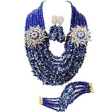 levne Dámské šperky-Dámské Náhrdelník Náušnice Náramek Boncuklar Šťastný Elegantní Afrika Náušnice Šperky Zelená / Duhová / Korálová Pro Svatební Párty Dar Denní Festival 1 sada