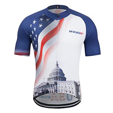 MUBODO Homens Manga Curta Camisa para Ciclismo Terylene Céu azul + branco Moto Camisa / Roupas Para Esporte Blusas Ciclismo de Montanha Ciclismo de Estrada Respirável Secagem Rápida Esportes Roupa