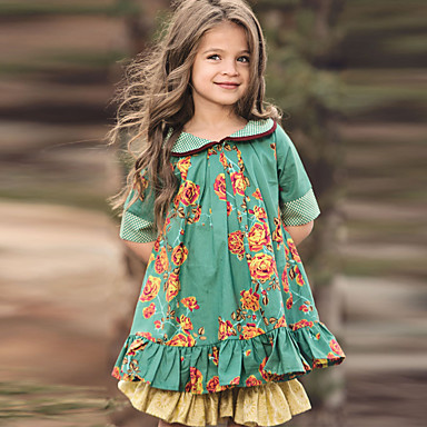 Baby & Kids-Kids Girls' Cute Floral Half Sleeve Knee-length Dress Green