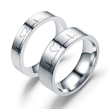 levne Dámské šperky-Pro páry Snubní prsteny 1ks Stříbrná průhledná Nerez Kulatý Vintage Základní Módní Slib Šperky Miláček Srdeční frekvence Heart