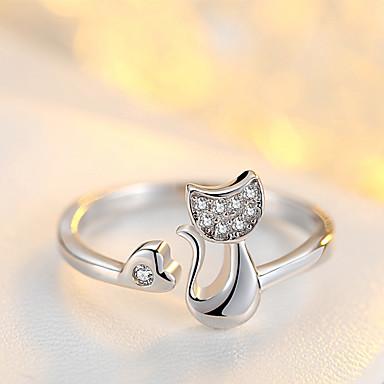 billige Motering-Dame Ring Åpne Ring 1pc Hvit Sølv Sirkelformet Grunnleggende Koreansk Mote Festival Smykker Dyr Smuk