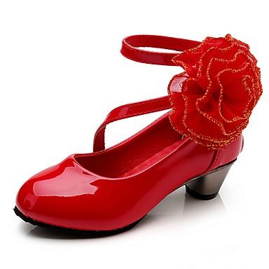 cheap Flower Girl Shoes-Girls' Heels Flower Girl Shoes / Halloween / Christmas PU Little Kids(4-7ys) Flower Red / Pink Fall