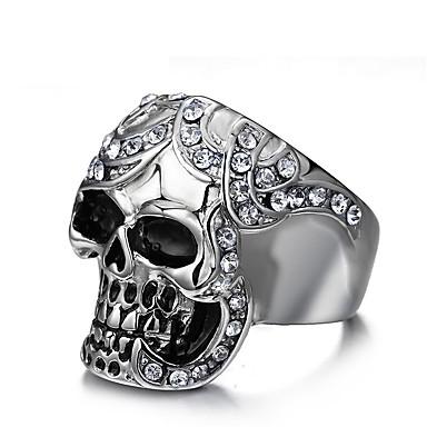 billige Motering-Herre Band Ring Ring 1pc Sølv Titanium Stål Fuskediamant Statement Unikt design Vintage Fest Daglig Smykker Skulptur Hodeskalle