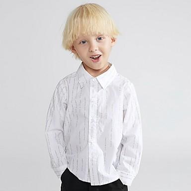 preiswerte Tops für Jungen-Kinder Jungen Grundlegend Solide Langarm Hemd Weiß