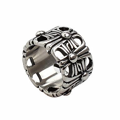 billige Båndringe-Herre Band Ring Ring 1pc Sølv Titanium Stål Sirkelformet Vintage Grunnleggende Mote Daglig Smykker Kors Kul