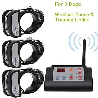 preiswerte Bekleidung & Accessoires für Hunde-2 in 1 drahtloser elektrischer Haustierhundezaun&Ampere; Hundehalsband Hundehalsband wasserdichtes, wiederaufladbares Haustier-Rückhaltesystem für drei Hunde