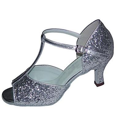 Mulheres Sapatos de Dança Cetim / Couro Ecológico Sapatos de Dança Latina Lantejoula Salto Salto Carretel Personalizável Branco / Preto / Prata / Espetáculo / Ensaio / Prática