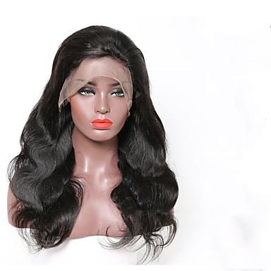 Remy Menneskehår Blonde Forside Parykk stil Brasiliansk hår Krop Bølge Svart Parykk 130% Hair Tetthet Svart Dame Medium Lengde Blondeparykker med menneskehår beikashang
