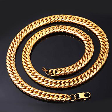 levne Dámské šperky-Pánské Řetízky Silný řetězec Box řetěz franko řetěz Módní Hip Hop Nerez Černá Zlatá Stříbrná 55 cm Náhrdelníky Šperky 1ks Pro Dar Denní
