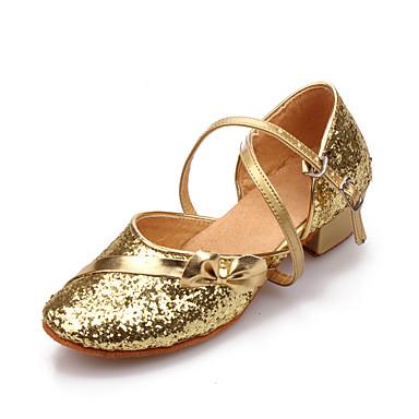 ราคาถูก รองเท้าเต้นราคาถูก-เด็กผู้หญิง รองเท้าเต้นรำ Synthetics โมเดอร์น ส้น หนา Heel ตัดเฉพาะได้ สีทอง / เงิน