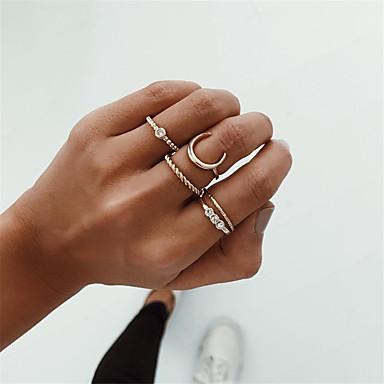 billige Motering-Dame Ring Set Multi-fingerring 5pcs Gull Legering Enkel Europeisk Mote Fest Daglig Smykker Retro MOON