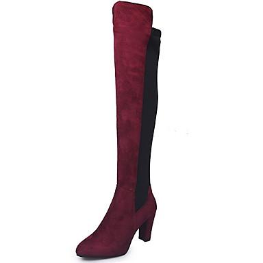 Mulheres Botas Botas Longas Salto Robusto Dedo Apontado Camurça Botas Cano Alto Inverno Preto / Vermelho / Cinzento