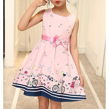 cheap Baby & Kids-Kids Girls' Active Geometric Print Sleeveless Above Knee Dress Blushing Pink