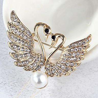 Mulheres Broches Cisne Estilo bonito Imitação de Pérola Broche Jóias Dourado Para Diário