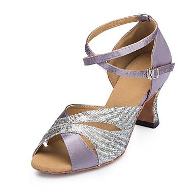 Mulheres Sapatos de Dança Cetim Sapatos de Dança Latina Recortes Salto Salto Cubano Personalizável Roxo / Espetáculo