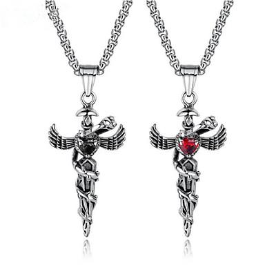 povoljno Modne ogrlice-Muškarci Kubični Zirconia Kvačice za privjeske Vintage Style Kereszt Moda Titanium Steel Broš Jewelry Crn Za Dar Dnevno