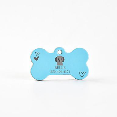 Personalizado Personalizado Poodle Pet Tags Clássico Presente Diário 1pcs Rosa Azul Céu Café / Inscrições a Laser