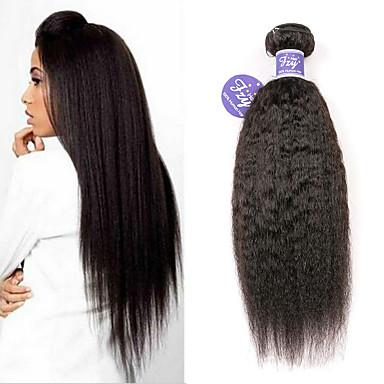 povoljno Ekstenzije od ljudske kose-3 paketa Malezijska kosa Kinky Ravno Remy kosa 100% Remy kose tkanja Bundle Ljudske kose plete Produžetak Bundle kose 8-28 inch Natural Isprepliće ljudske kose s dječjom kosom Odor Free Čovjek tkati