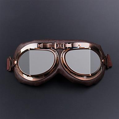 preiswerte Motorradhelme-motorradbrille gläser vintage motocross retro flieger pilot cruiser atv uv schutzbrille rahmen farbensilber