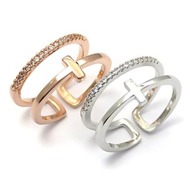 billige Motering-Dame Ring 1pc Sølv Rose Gull Kobber Sirkelformet Grunnleggende Koreansk Mote Festival Smykker Nummer Bokstaver Ondt øye Smuk