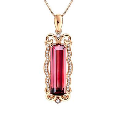 povoljno Modne ogrlice-Žene Crvena Tourmaline Ogrlice s privjeskom Long Flower Shape Moda Pozlaćeni Crvena 45+3 cm Ogrlice Jewelry 1pc Za Dar Dnevno