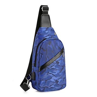 Homens Ziper Náilon Sling sacos de ombro Côr Sólida Azul / Preto / Cinzento / Outono & inverno