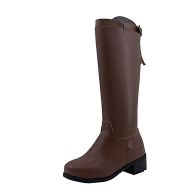 levne Dámská obuv-Dámské Boty Ke kolenům Block Heel Oblá špička Nappa Leather Ke kolenům Vintage Zima Černá / Hnědá