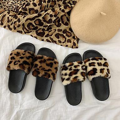preiswerte Pantoffeln-Damenhausschuhe / Mädchenhausschuhe Gleithausschuhe / Gästehausschuhe / Pantoffel Gepunktet und karriert / Freizeit Kunstpelz Einheitliche Farbe Schuhe