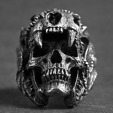 levne Pánské šperky-Pánské Prsten 1ks Stříbrná Slitina nepravidelný Vintage Punk Moderní Denní Šperky Retro styl Lebka