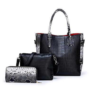 preiswerte Taschen-Damen Reißverschluss PU Bag Set Schlangenhaut 3 Stück Geldbörse Set Schwarz / Braun / Rote
