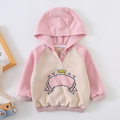 preiswerte Kapuzenpullover & Sweatshirts für Babys-Baby Mädchen Grundlegend Einfarbig Langarm Kapuzenpullover Staubige Rose