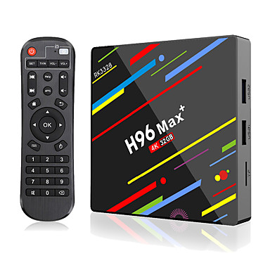 cheap TV Boxes-H96 MAX Plus Smart TV BOX Android 9.0 RK3328 4K Media Player QuadCore 4GB Ram 64GB ROM Android 8.1 Rockchip Set Top Box 2.4G/5G WIFI H.265 H96Max + TVBOX USB3.0 BT