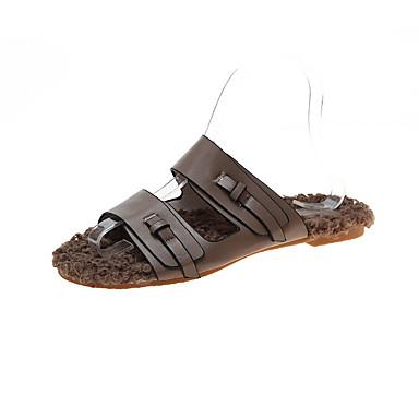 voordelige Damespantoffels & slippers-Dames Slippers & Flip-Flops Platte hak Ronde Teen Imitatiebont / PU Informeel Herfst Bruin / Wit / Geel