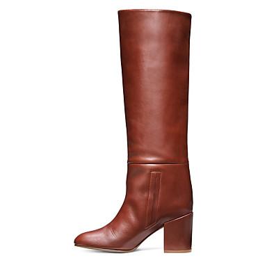 voordelige Dameslaarzen-Dames Laarzen Blokhak Gesloten teen Imitatieleer Kuitlaarzen Brits / minimalisme Lente & Herfst / Winter Zwart / Bruin