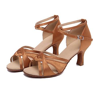 preiswerte Shall We® Tanzschuhe-Damen Tanzschuhe Satin Schuhe für den lateinamerikanischen Tanz Absätze Kubanischer Absatz Maßfertigung Braun